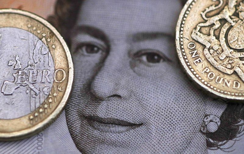 © Reuters. File photo illustration of a two Euro coin pictured next to a one Pound coin on top of a portrait of Britain's Queen Elizabeth