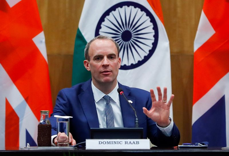 © Reuters. Britain's Foreign Secretary Raab and his Indian counterpart Jaishankar hold news conference in New Delhi