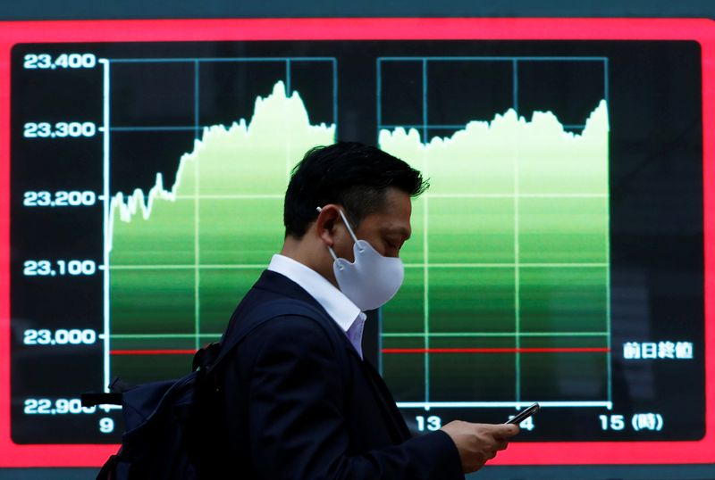© Reuters. FILE PHOTO: A man wearing a protective face mask walks past a screen displaying a graph showing recent Nikkei share average outside a brokerage, amid the coronavirus disease (COVID-19) outbreak, in Tokyo