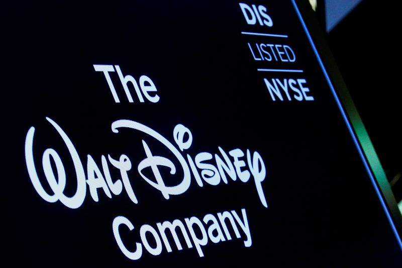 © Reuters. FILE PHOTO: A screen shows the trading info for The Walt Disney Company company on the floor of the NYSE in New York