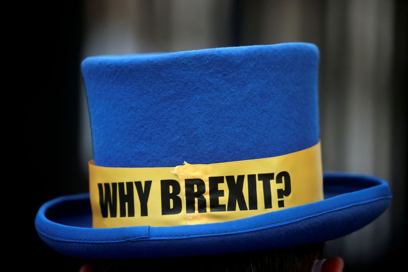 © Reuters. FILE PHOTO: The hat of anti-Brexit protester Steve Bray is pictured outside the gates of Downing Street in London