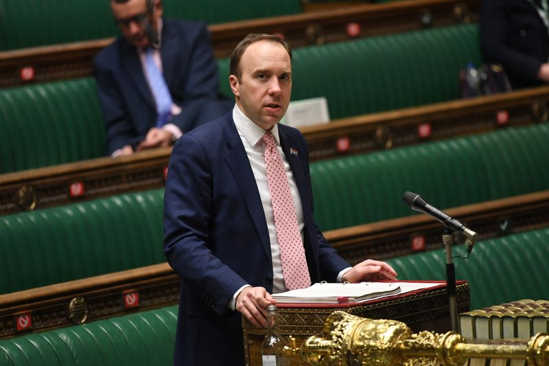 © Reuters. Britain's Health Secretary Matt Hancock delivers a statement on the coronavirus disease (COVID-19) pandemic during a debate at the House of Commons in London