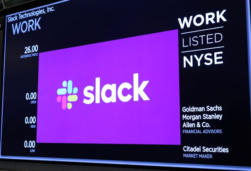 © Reuters. The Slack Technologies Inc. logo is seen on a display at New York Stock Exchange (NYSE) during the company's IPO in New York