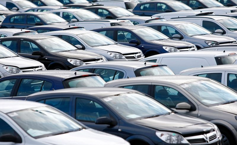 © Reuters. File photograph shows new Vauxhall cars standing outside the company's factory in Ellesmere Port, northern England