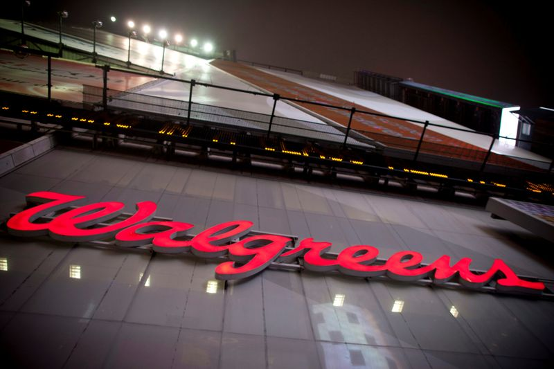 © Reuters. The logo of Walgreens is seen at their Times Square store in New York