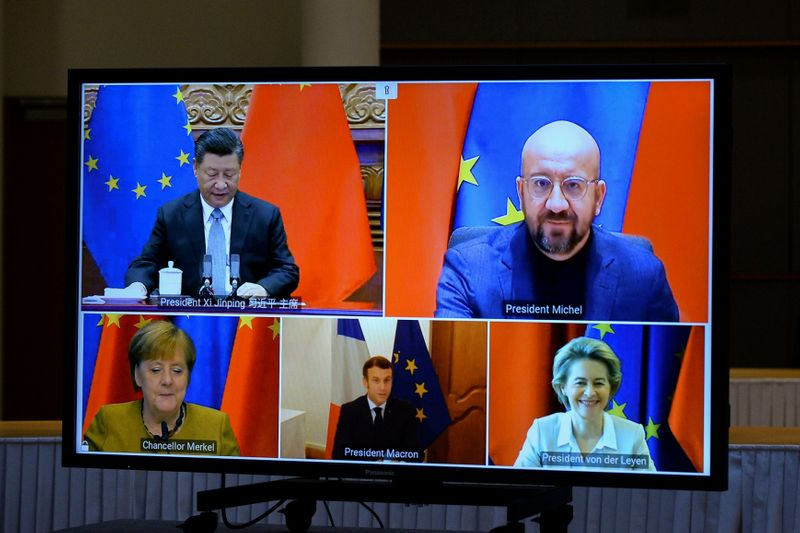 © Reuters. FILE PHOTO: EU Commission President von der Leyen and EU Council President Michel have a video conference with Chinese President Jinping, in Brussles