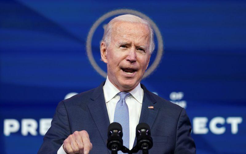 © Reuters. U.S. president-elect Joe Biden speaks in Wilmington, Delaware