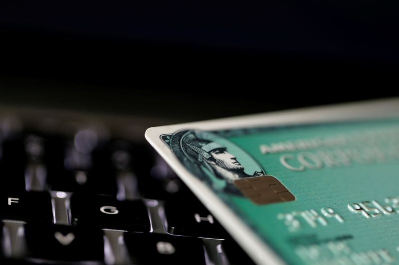 © Reuters. FILE PHOTO: An American Express credit card is seen on a computer keyboard in this picture illustration