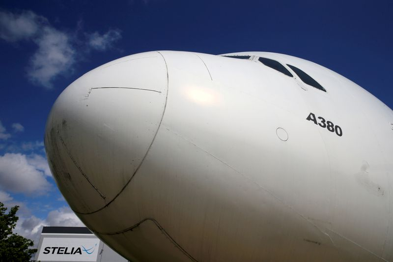 © Reuters. FILE PHOTO: The nose of an Airbus A380 is seen outside the factory of Stelia Aerospace in Meaulte