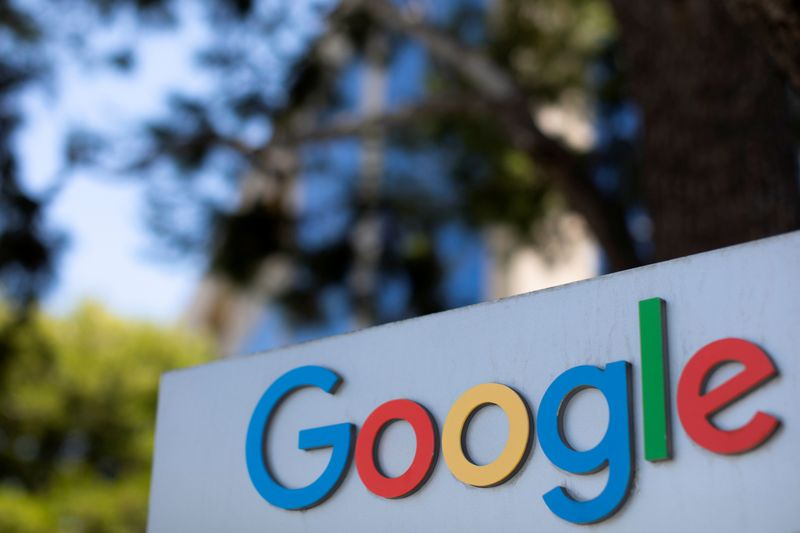 © Reuters. FILE PHOTO: A Google sign is shown at one of the company's office complexes in Irvine