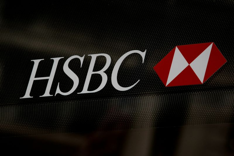 © Reuters. HSBC logo is seen on a branch bank in the financial district in New York