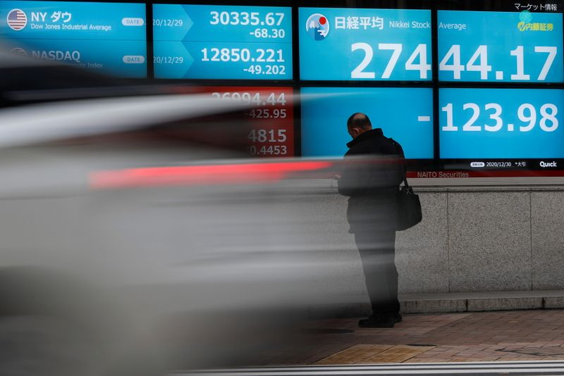 © Reuters.File picture: The screen shows the Nikkei average stock price and stock index outside the Tokyo Stock Exchange