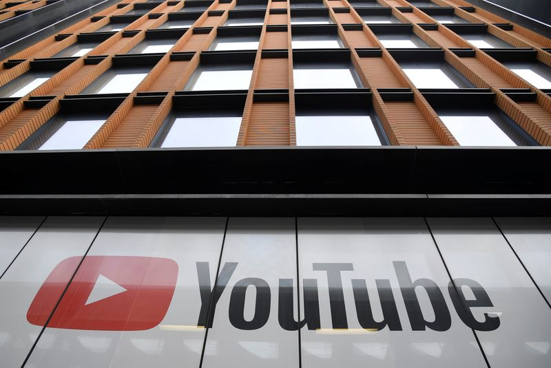 © Reuters. YouTube signage is seen at their offices in London