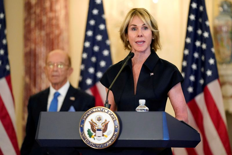 © Reuters. FILE PHOTO: U.S. Ambassador to the United Nations Kelly Craft during a news conference