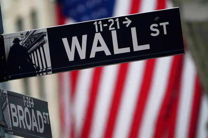 © Reuters. FILE PHOTO: A Wall Street sign is pictured outside the New York Stock Exchange, in New York City
