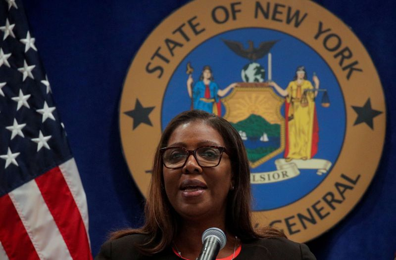 © Reuters. FILE PHOTO: New York State Attorney General Letitia James speaks speaks at a news conference