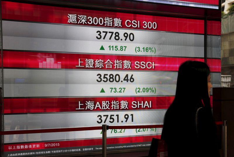 © Reuters. Painel com cotações acionárias do lado de fora de banco em Hong Kong
