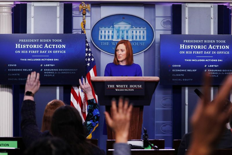 © Reuters. White House Press Secretary Jen Psaki speaks in the James S Brady Press Briefing Room at the White House, after the inauguration of Joe Biden as the 46th President of the United States