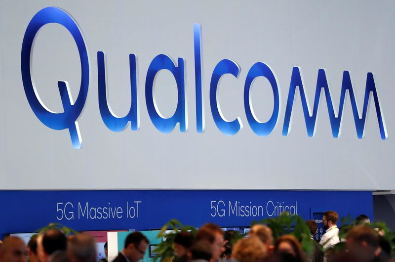 © Reuters. The logo of Qualcomm is seen during the Mobile World Congress in Barcelona