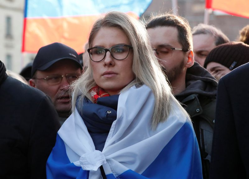 © Reuters. Russian opposition figure Lyubov Sobol takes part in a rally to mark the 5th anniversary of opposition politician Boris Nemtsov's murder and to protest against proposed amendments to the country's constitution, in Moscow