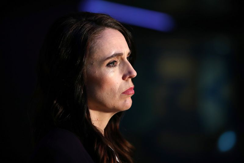 © Reuters. New Zealand Prime Minister Ardern addresses the media after a debate in Auckland