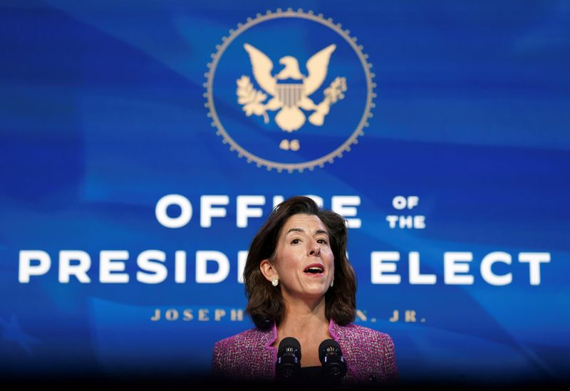 © Reuters. FILE PHOTO: Gina Raimondo, Biden's nominee for secretary of Commerce, speaks in Wilmington, Delaware