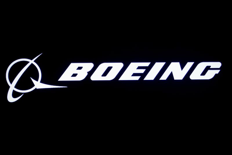 © Reuters. FILE PHOTO: The Boeing logo is displayed on a screen, at the NYSE in New York