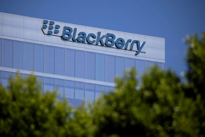 © Reuters. FILE PHOTO: The Blackberry logo is shown on a office tower in Irvine, California