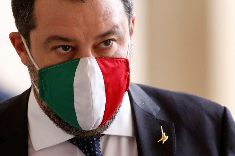 © Reuters. Matteo Salvini, leader della Lega, al palazzo Quirinale a Roma