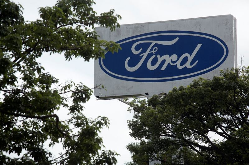 © Reuters. Ford logo is pictured at Ford Motor Co plant in Taubate