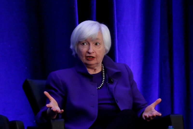 © Reuters. FILE PHOTO: Former Federal Reserve Chairman Janet Yellen speaks during a panel discussion in Atlanta