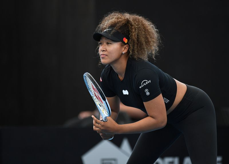 © Reuters. FILE PHOTO: Japan's Naomi Osaka in action at the Day at the Drive exhibition event