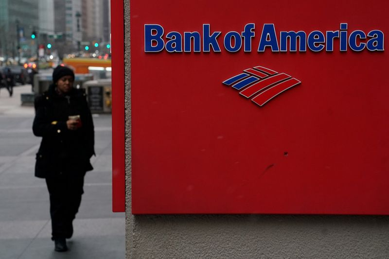© Reuters. FILE PHOTO: A Bank of America logo is pictured in the Manhattan borough of New York City