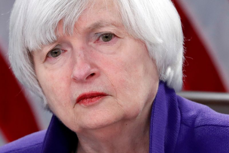 © Reuters. FILE PHOTO: Yellen holds a news conference in Washington