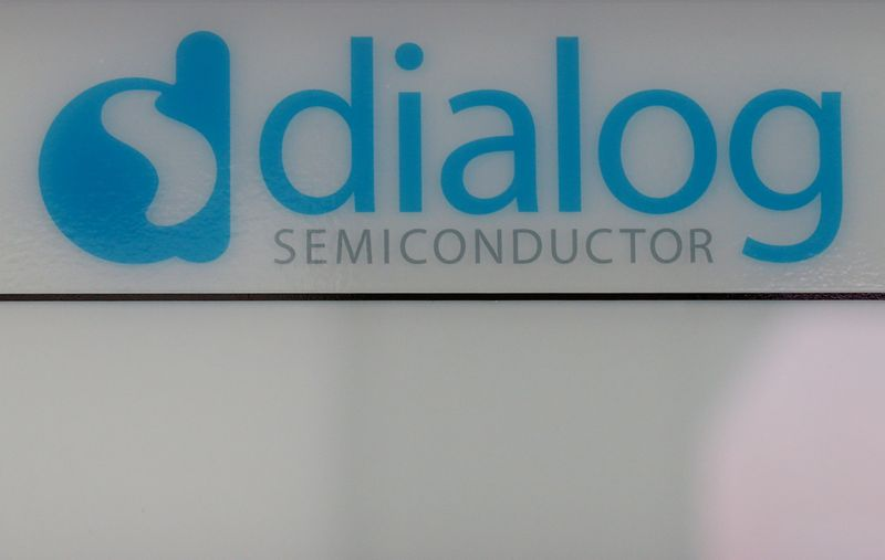 © Reuters. Dialog semiconductor logo is pictured at company building in Germering