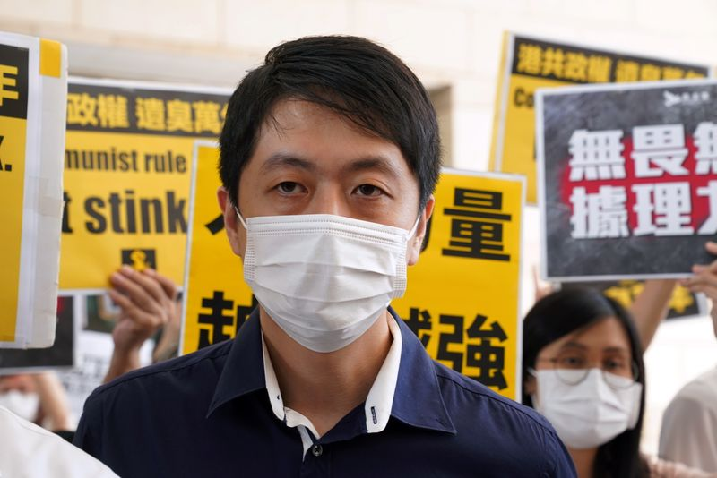 © Reuters. Former pro-democracy lawmaker Ted Hui Chi-fung appears outside West Kowloon Magistrates' Courts in Hong Kong