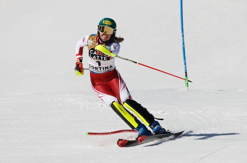 Alpine skiing-Liensberger leads slalom as Shiffrin trails in fourth