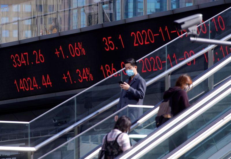 © Reuters. Painel eletrônico com índices acionários em Xangai