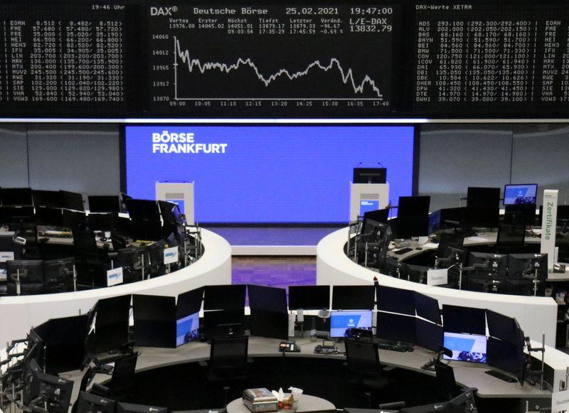 European shares drop as bond rout sparks profit taking
