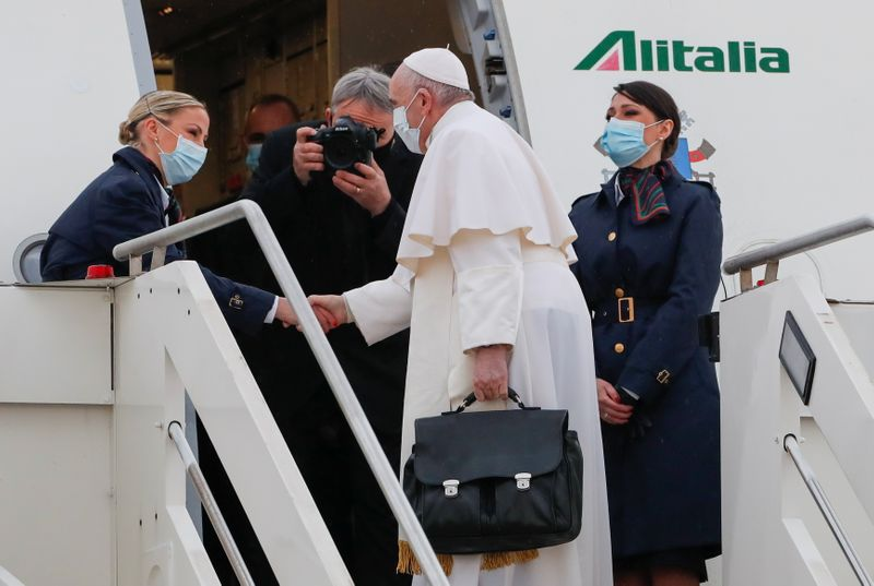Pope Francis leaves Rome at start of risky trip to Iraq