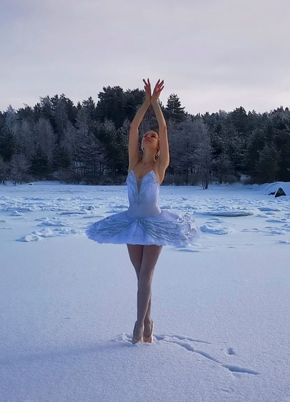 The Russian ballerina performs Swan Lake on ice to save the bay