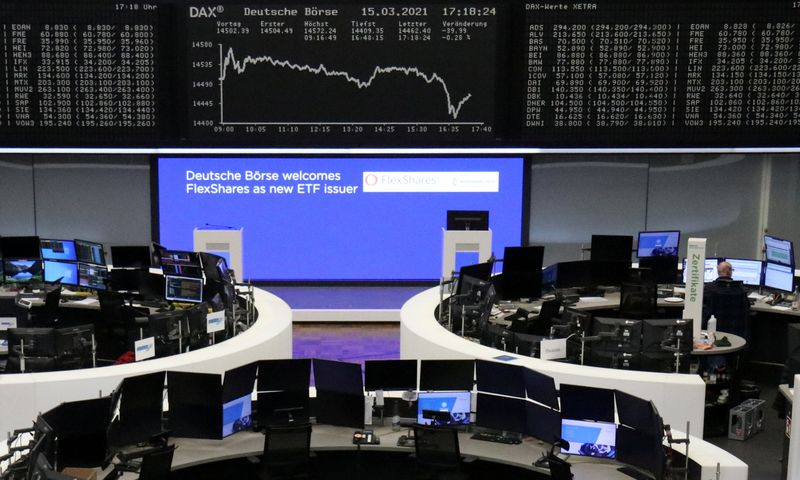 Europe rises, auto rally lifts German DAX to record high