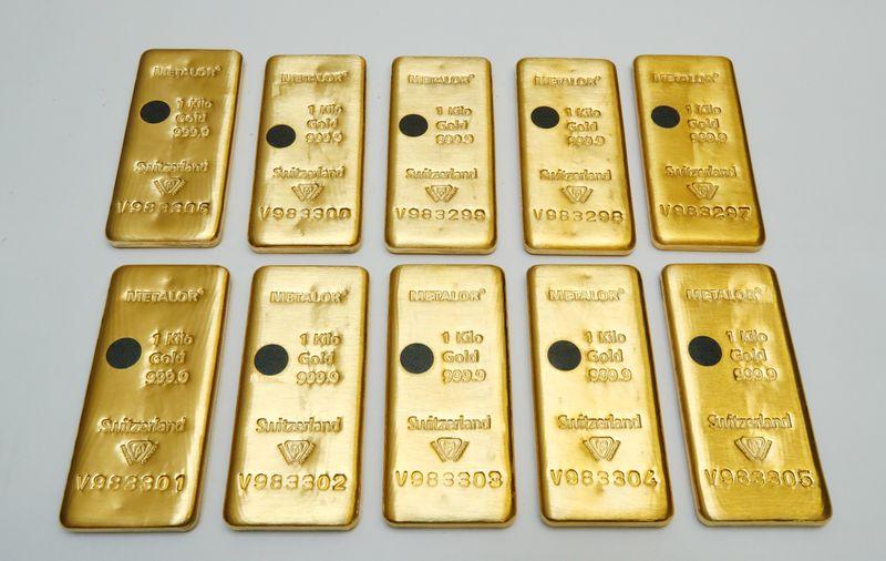 Золото снижается из-за роста доллара и гособлигаций США
