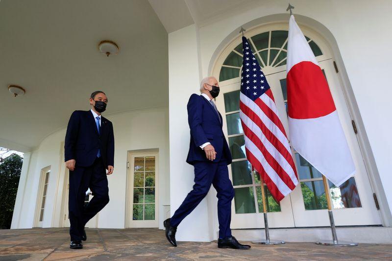 日米首脳、中国を強くけん制 共同声明に台湾やウイグル明記