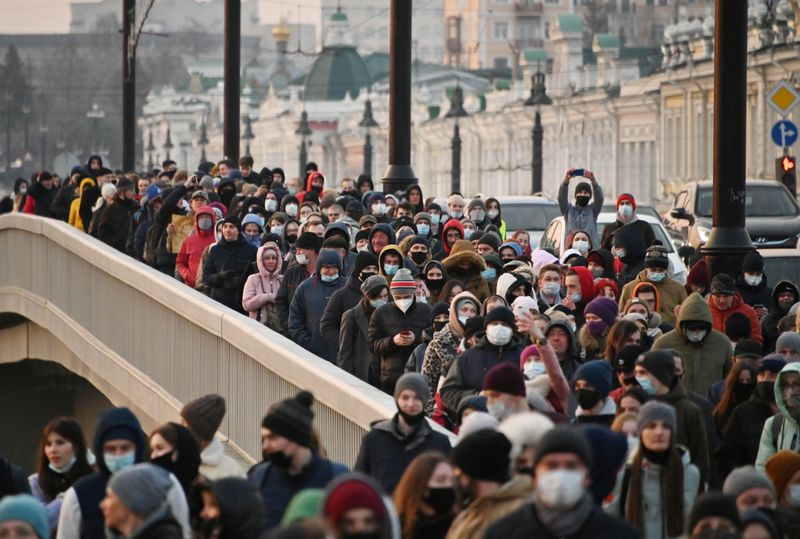Russia rounds up almost 200 people at protests over Navalny's failing health