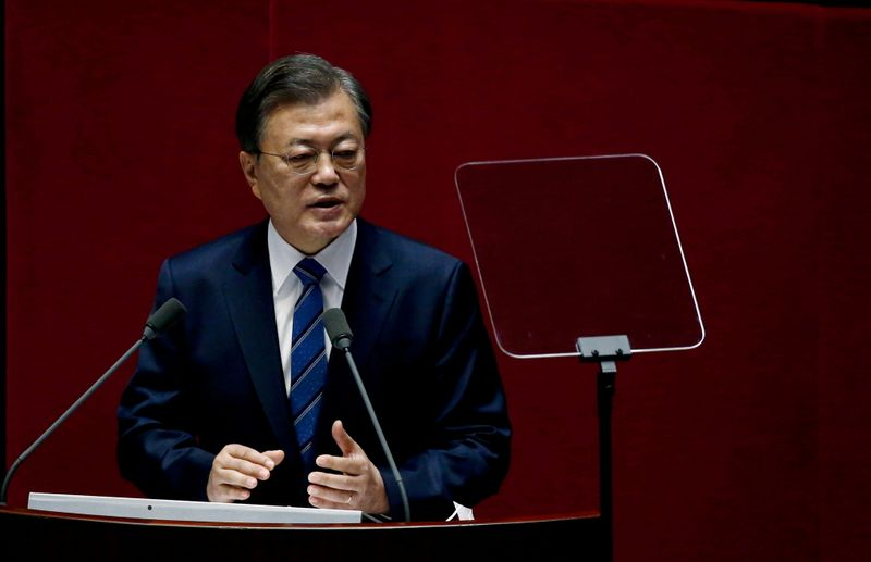 South Korea's Moon says looking for North Korea response for peace talks