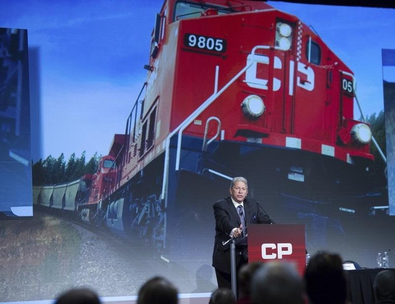 © Reuters Hunter Harrison, CEO of Canadian Pacific Railway Limited addresses shareholders at the company's annual general meeting in Calgary