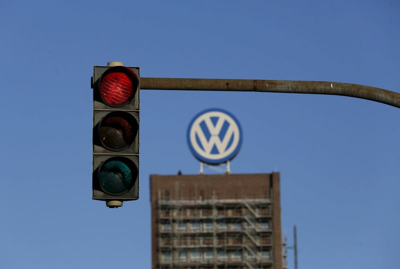 © Reuters. File photo of a traffic light showing red next to the Volkswagen factory in Wolfsburg