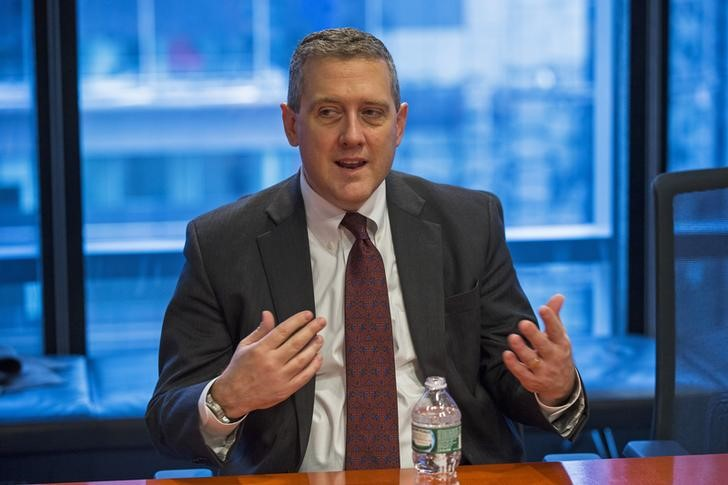 © Reuters. St. Louis Fed President James Bullard speaks about the U.S. economy during an interview in New York