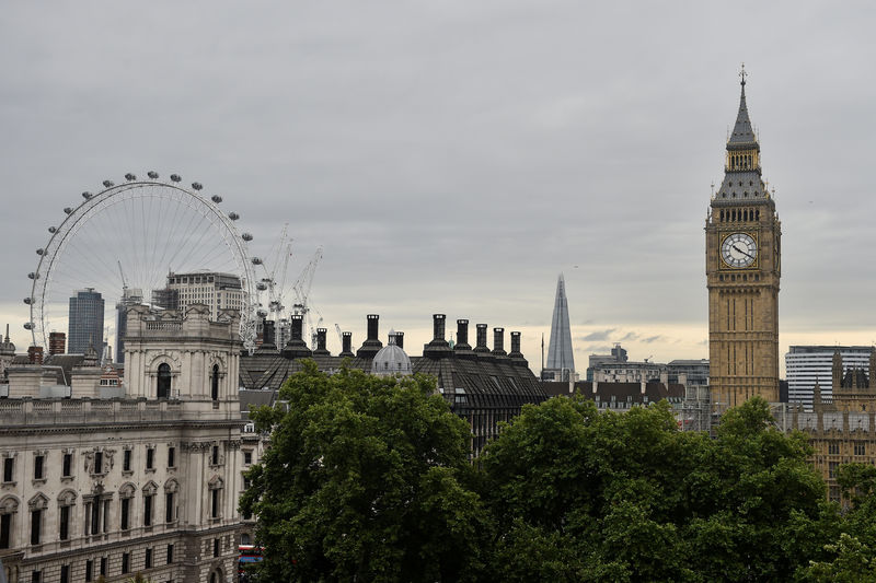 © Reuters. FILE PHOTO: The Houses of Parliament and the London Eye are seen from the Queen Elizabeth II Conference Centre, in central London